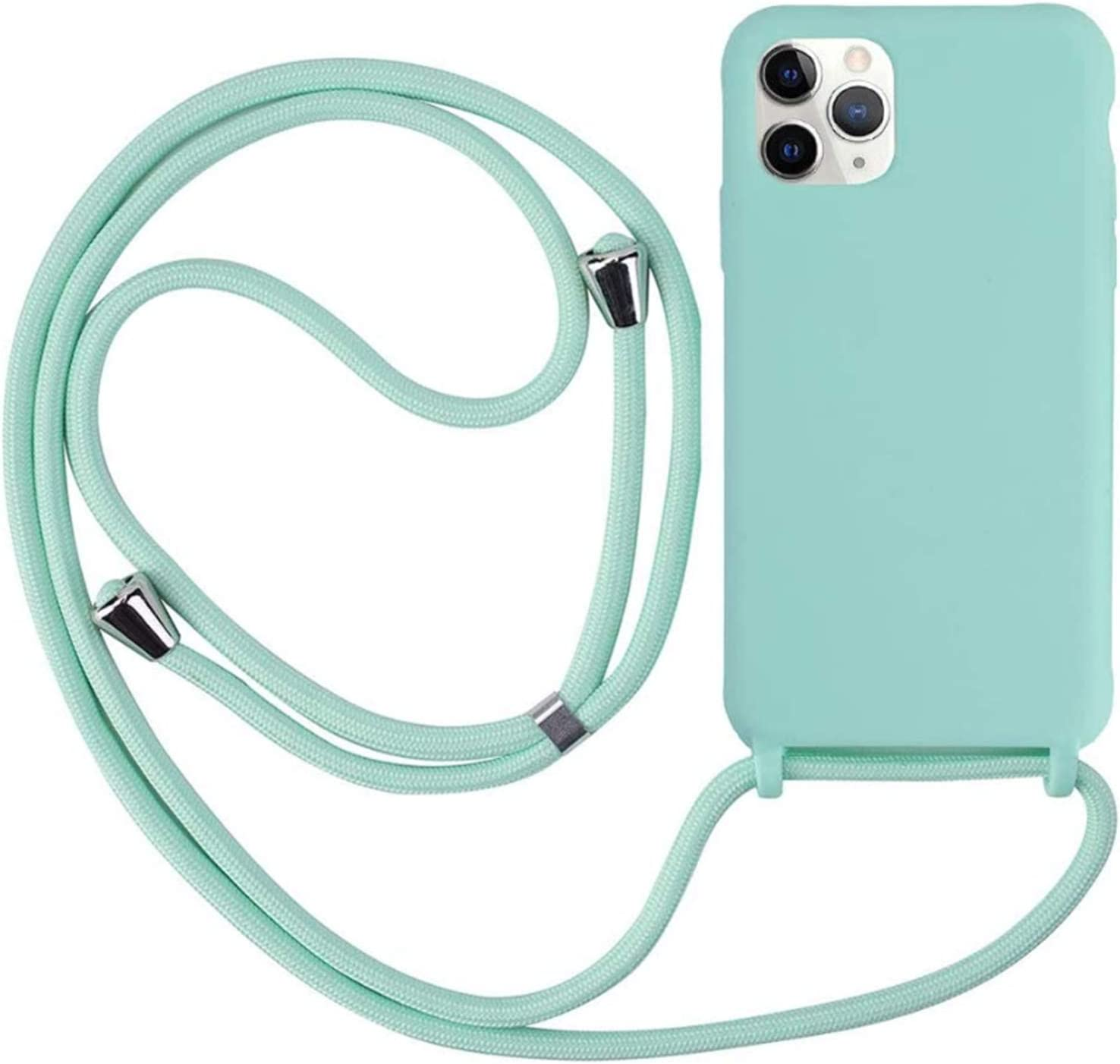 MEIVS Funda Compatible con iPhone 6//6S//7//8 Ajustable Collar Correa de Cuello Cord/ónCarcasa de Silicona-Verde Oscuro