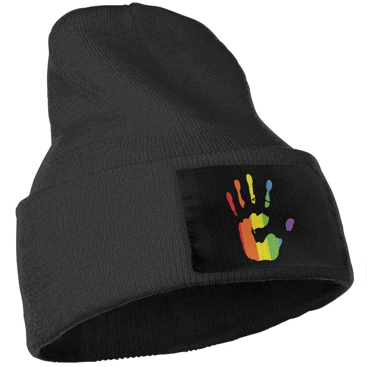 Men /& Women Gay Pride Rainbow Hand Outdoor Stretch Knit Beanies Hat Soft Winter Skull Caps