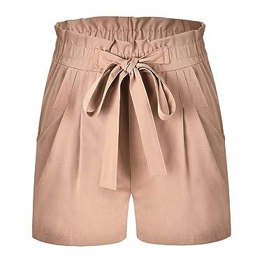 Pantalones Mujer, ASHOP Sólido Pantalones Cortos Anchos Vaqueros ...