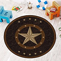"Furnish my Place 800 Texas Star Western Rustic Cowboy Decor Brown Black, 3'3"" Round, Multicolor"