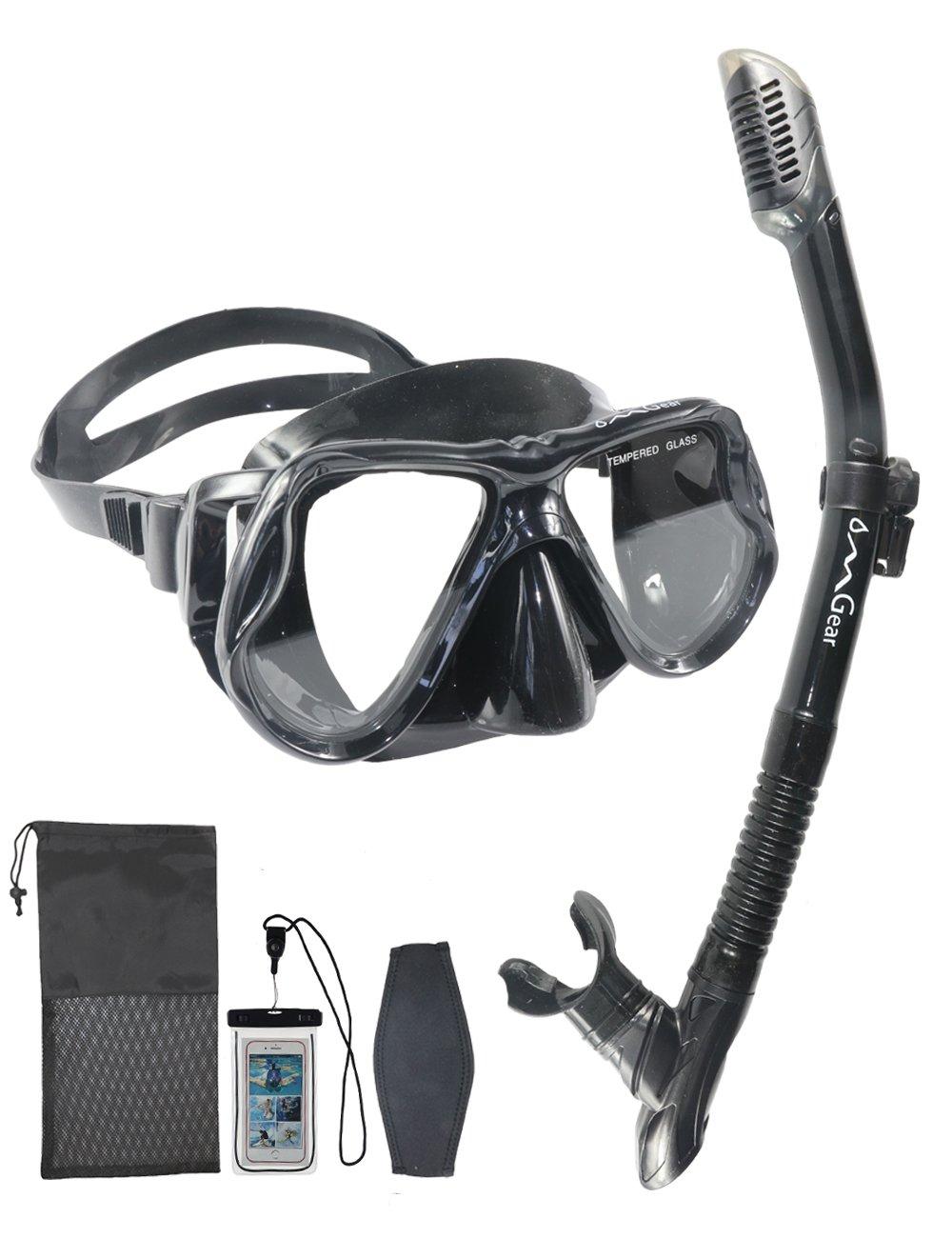 2dabc3da0c19 OMGear Snorkel Set Snorkeling Mask Dry Snorkel Neoprene Mask Strap  Waterproof Phone Case Swimming Scuba Diving Freediving (Black)