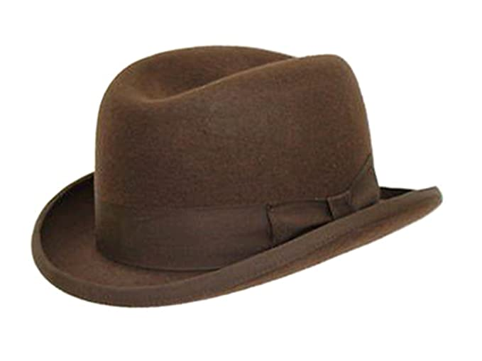 Men's Steampunk Costume Essentials DH Hand Made 100% Wool Hard Top Churchill Homburg Felt Trilby Hat New £27.99 AT vintagedancer.com