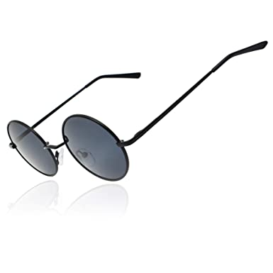 8c4f8b9b90 Ronsou Lennon Style Vintage Round Polarized Sunglasses Eyewear with Mirrored  or Plain Lens Black frame