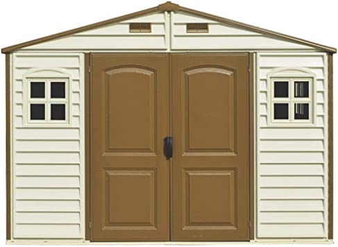 Duramax Caseta de PVC Woodside 10X8, Beige/Marron, 8, 02 m²: Amazon.es: Jardín
