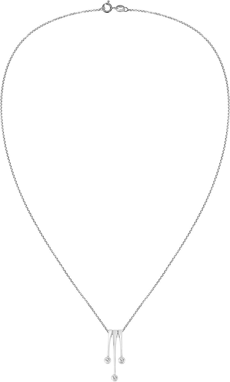 AeraVida Set-of-3 .925 Sterling Silver Glimmering Cubic Zirconia Dangle Pendant Necklace
