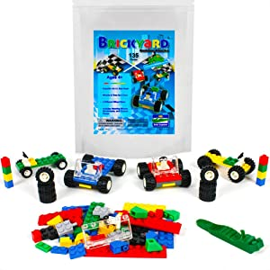 Brickyard Building Blocks 135 Pieces Wheels, Tires, and Axles - Building Bricks Compatible Set Includes Steering Wheels, Windshields, and Colorful Brick Building Chassis Pieces (135 pcs)