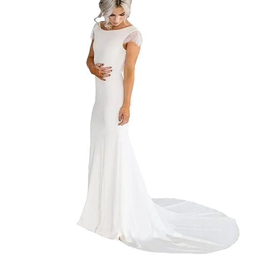 Yuxin Cap Sleeves Lace Mermaid Wedding Dresses Long Simple Backless