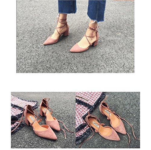 Rêve Dame Sandales couleur Élégantes Talons Pointus Taille Hauts Cheville Rose 35 Chaussures De tTwxqrtz