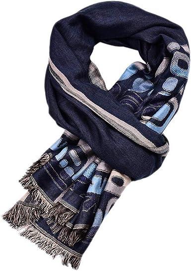 Bufanda larga de algodón para hombre, bufanda casual de alta gama doble para hombre: Amazon.es: Ropa y accesorios