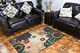 MeMoreCool Boho Area Rugs Retro Floral Home Living Mats Protective Decorative Carpets 1PC 39 X 59 Inch