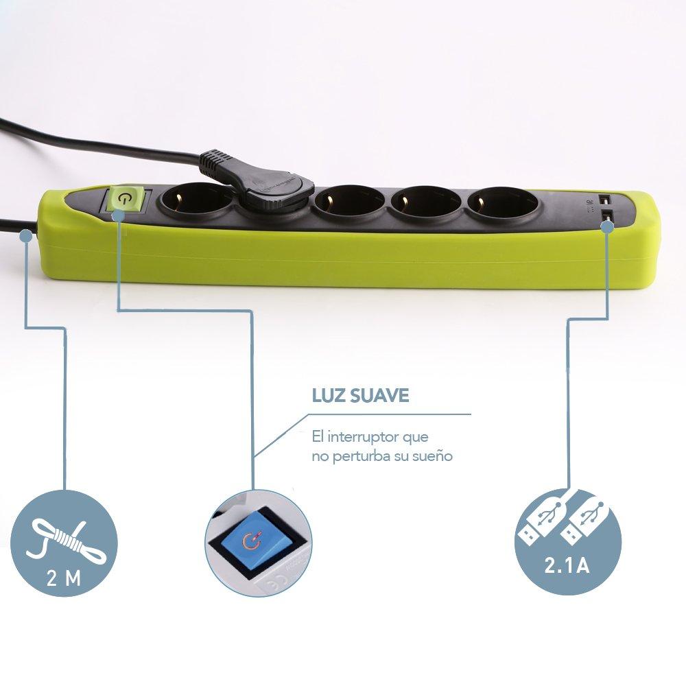 Electraline Gummy 62161 Regleta Base 5 Enchufes y 2 USB 2.1A cable 2 m clavija plana Cover de silicona