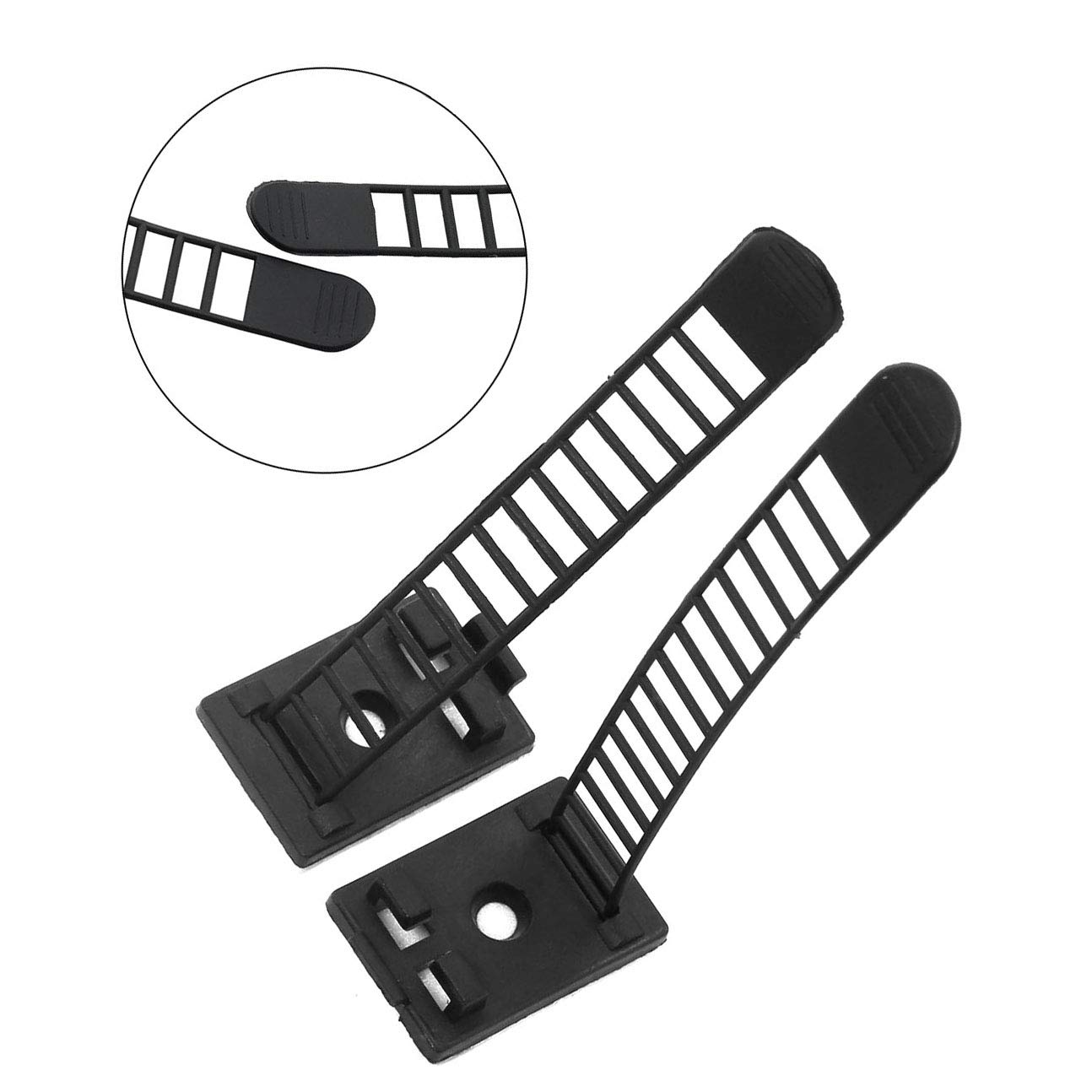 100pcs 91mm Adjustable Self Adhesive Cable Clips Wire Organizer with Optional Screw Mount for Electric Wiring Accessories Cable Clamp Clips Fixed Fasten Cable Tie Black by Magic&Shell (Image #2)