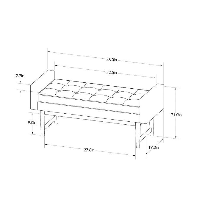 Prime Amazon Com Verken Mid Century Modern Faux Leather Bench Inzonedesignstudio Interior Chair Design Inzonedesignstudiocom