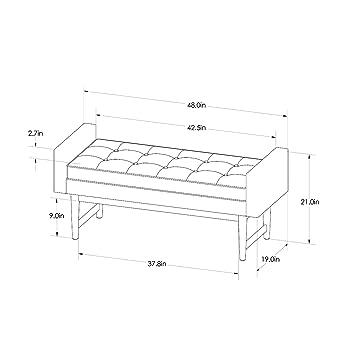 Miraculous Amazon Com Verken Mid Century Modern Faux Leather Bench Inzonedesignstudio Interior Chair Design Inzonedesignstudiocom