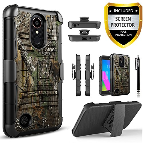 LG K20 Plus Case, LG K20 V Case, LG Harmony Case, LG Grace Case, [Combo Holster] And Built-In Kickstand Bundled with[Premium Screen Protector]Shockproof And Circlemalls Stylus Pen (Camo) Camo Cell Phone Accessories