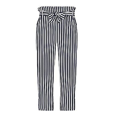 Damen Weite Hosen Fashion Gestreift Polka Dots Freizeithose Elegante  Vintage High Waist Mädchen Hippie Loose Lange Hose Sommerhose Bekleidung   Amazon.de  ... c5d01b8b27