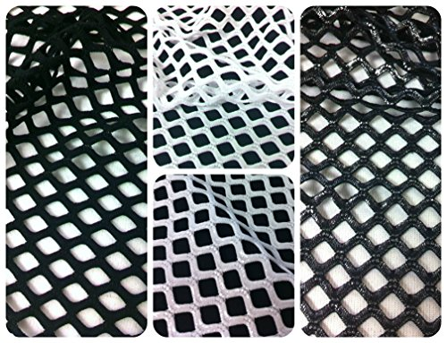 Diamond Mesh Big Hole 0.5 Inch With or Without Silver Foil Stretch Polyester Spandex Mesh Fabric By the Yard (White (Diamond Silver Foil)