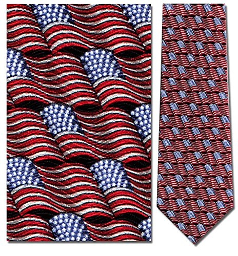 Mens 100% Silk Small Waving American Flag Tie Necktie
