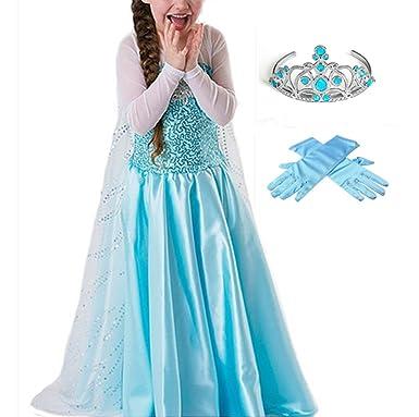 GenialES® Disfraz de Vestido Princesa con Guantes Diadema Azul Lindo Disfraz de Cumpleaños Carnaval Fiesta