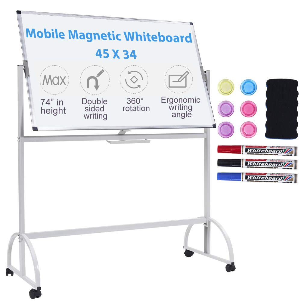 Magnetic Mobile White Board, 45 x 34 Double Sided Dry Erase Board Rolling Whiteboard Aluminum Frame Standing Whiteboard on Wheels