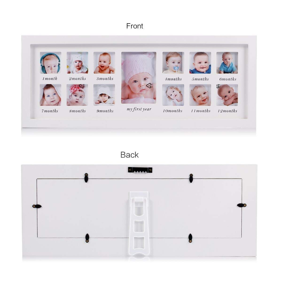 Unique Baby Gifts The Perfect Decorations for Room Wall Feibi My First Year Baby Photo Frame Newborn Baby Keepsake Frame Kit Wood Kids Wall Hanging Picture Frame 12 Month Photo Frame Black