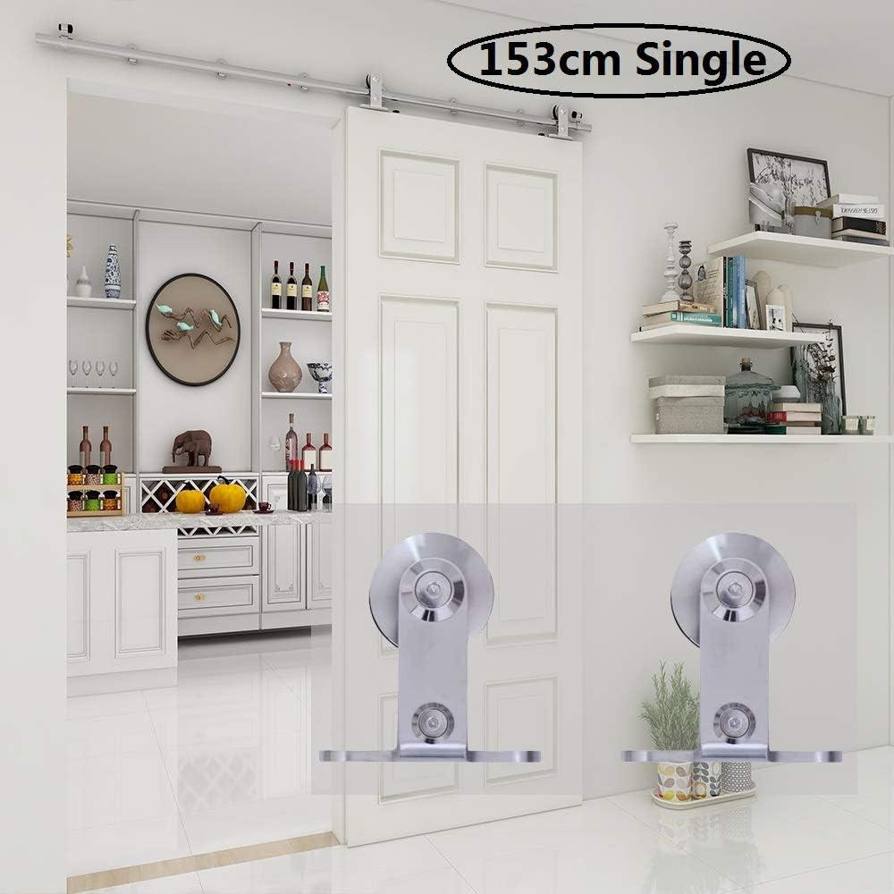 CCJH 5FT-153cm Herraje para Puerta Corredera Kit de Accesorios para Puertas Correderas Rueda Riel Juego para Una Puerta de Madera/Cristal