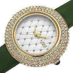 Swarovski Crystals Bezel with Leather Strap Watch