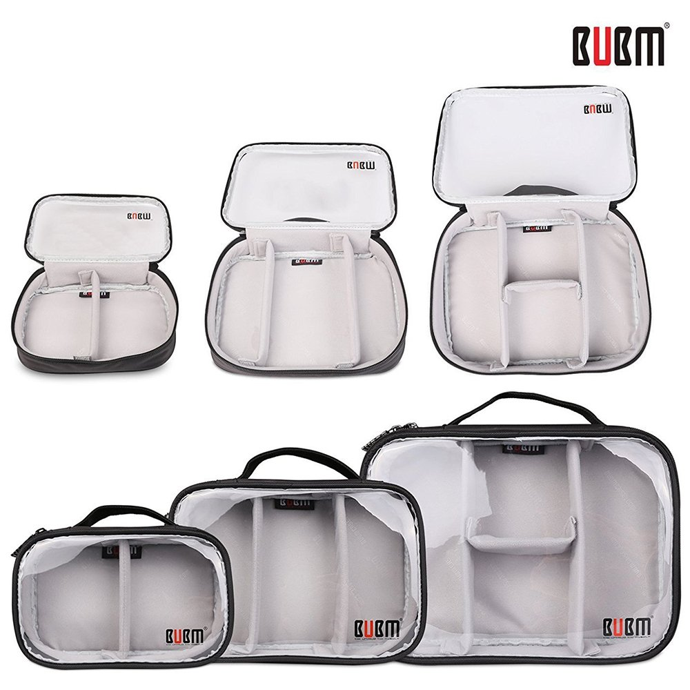 BUBM Electronic Accessories Organizer 3pcs Set,Waterproof Travel Toiletries Cosmetic(Clear,L/M/S)