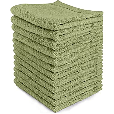 Luxury Cotton Washcloths (12-Pack, Sage Green, 12x12 Inches) - Easy Care, Fingertip Towels, Facial Towelettes, Cotton Hand Towels - by Utopia Towels