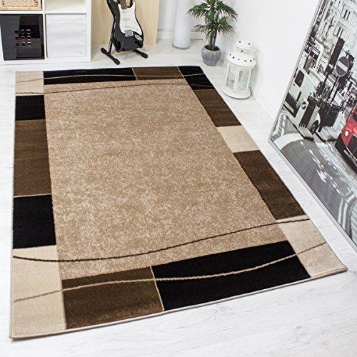 Teppich Kariert Retro Muster Meliert in Braun Schlafzimmer Wohnzimmer - ÖKO TEX Zertifiziert, Maße:60x100 cm