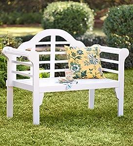 Lovely Lutyens Wood Garden Bench With Folding Design, In White