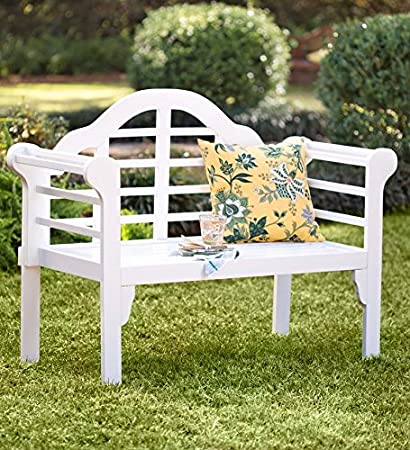 Lutyens Wood Garden Bench With Folding Design, In White