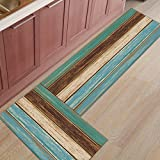 Kitchen Rug Mat Set of 2 Piece Retro,Rustic Wood Plank Inside Outside Entrance Rugs Runner Rug Home Decor,15.7x23.6in+15.7x47.2in