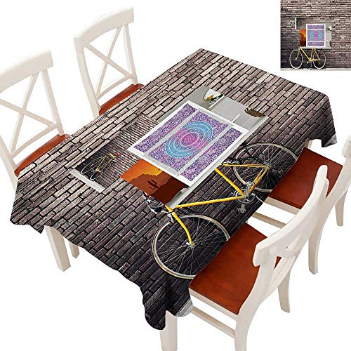 Decorative Textured Fabric Tablecloth Runners, Gatsby Wedding, Glam Wedding Decor, Vintage Weddings Past Times Aesthetic Road Bike Lean Brick Wall Outdoor Daily Town Life Photo Grey Yellow Red 60