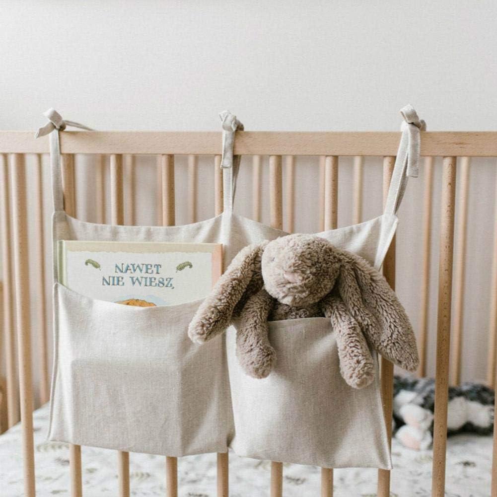 youngfate Betttasche Babybett Zum Einh/ängen Kinder Grau H/ängeorganizer Bett Organizer Multifunktionale Aufbewahrungstasche Aus Leinen Mit Zwei F/ächern