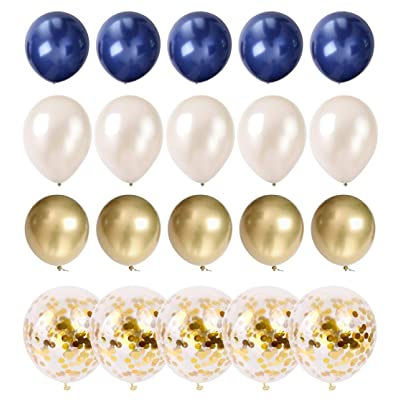 Navy Balloons Kids Birthday Navy Party Decoration Latex Balloon Pack with Gold Confetti Balloons 50 pcs 12 inch Pearl White and Gold Metallic Chrome Graduation Anniversary Celebration Balloons: Toys & Games