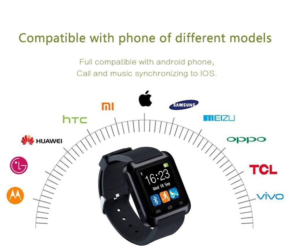 SmartWatch Bluetooth reloj inteligente con Podómetro, Fitness, banda ajustable, con pantalla táctil para Smartphones con Sistema Operativo Android ...