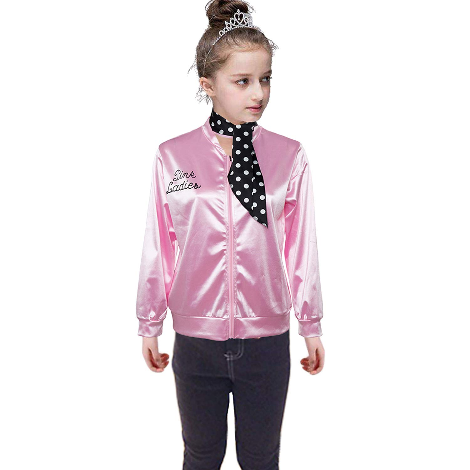 50S Grease T-Bird Danny Pink Ladies Satin Jacket Costume with Polka Dot Scarf for Girls (10, Pink)
