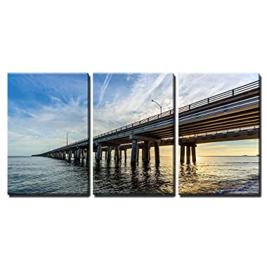 wall26 - 3 Piece Canvas Wall Art - Chesapeake Bay Bridge - Modern Home Decor Stretched and Framed Ready to Hang - 16 x24 x3 Panels