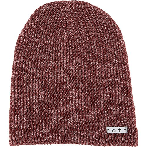 Reversible Knit Maroon Beanie (NEFF Women's Daily Sparkle Beanie, Maroon, One Size)
