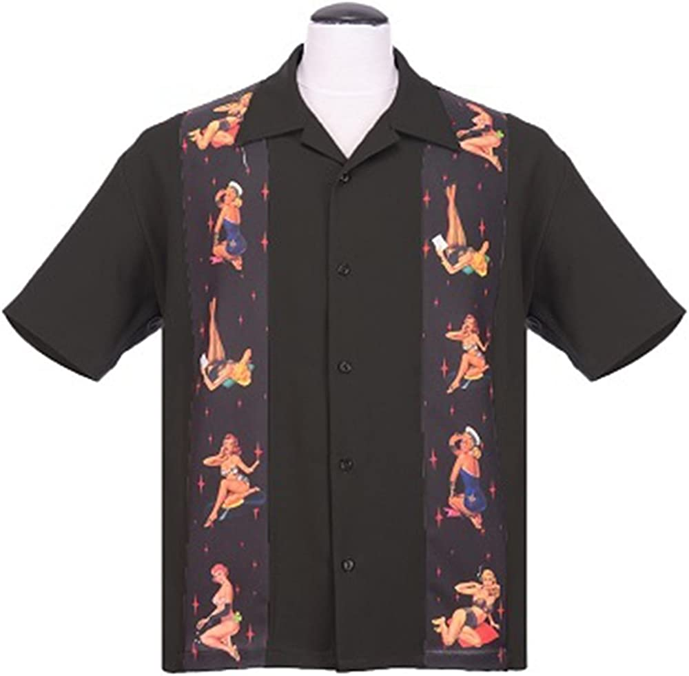 STEADY CLOTHING Mens Multi Pin Up Panel Button Up Bowling Shirt Black