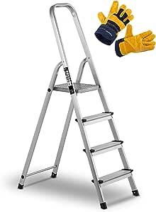 MSW Set Escalera De Mano Aluminio Con Guantes De Trabajo MSW-AT4-SET (Plegable, Altura máxima: 142,5 cm, Hasta 150 kg, 4 peldaños): Amazon.es: Bricolaje y herramientas