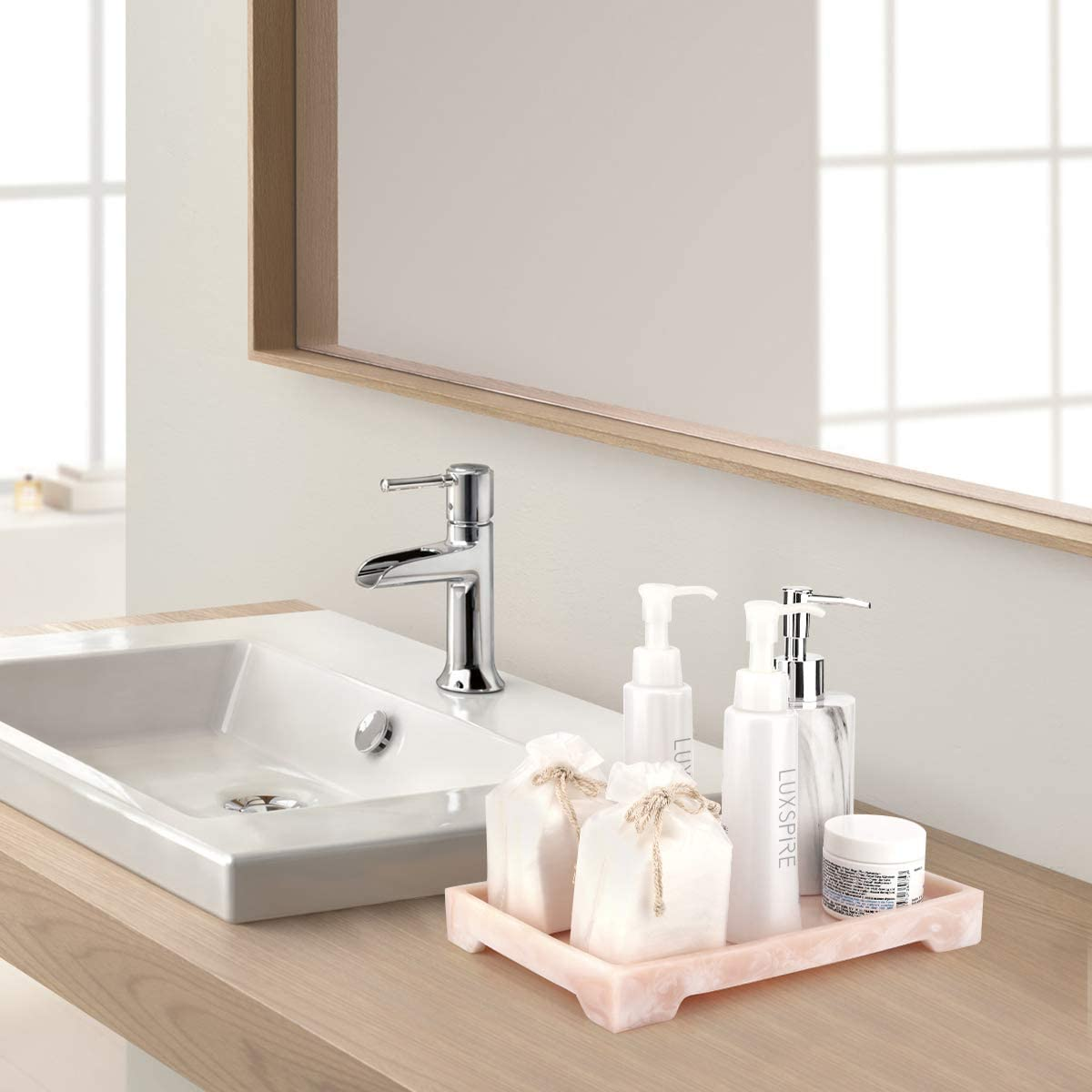 Vanity Organizer for Tissues Toilet Tank Storage Tray etc Soap Candles Luxspire Vanity Tray Towel Plant Pink Resin Bathtub Tray Bathroom Tray Marble Pattern Tray
