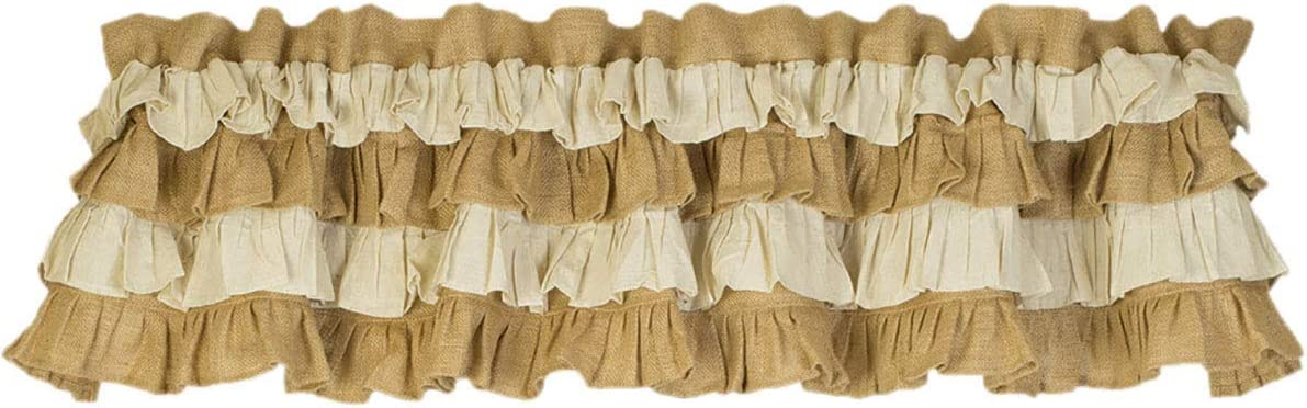 The Country House Collection Multi Ruffle Window Valance – 72 by 14 inch