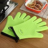 JZDCSCDNS Oven Gloves 5 Fingers High Temperature Heat Proof Anti-scald Non-slip Kitchen Microwave Oven Baking High Temperature Environment Silica Gel Cotton Cloth Solid Color , Green