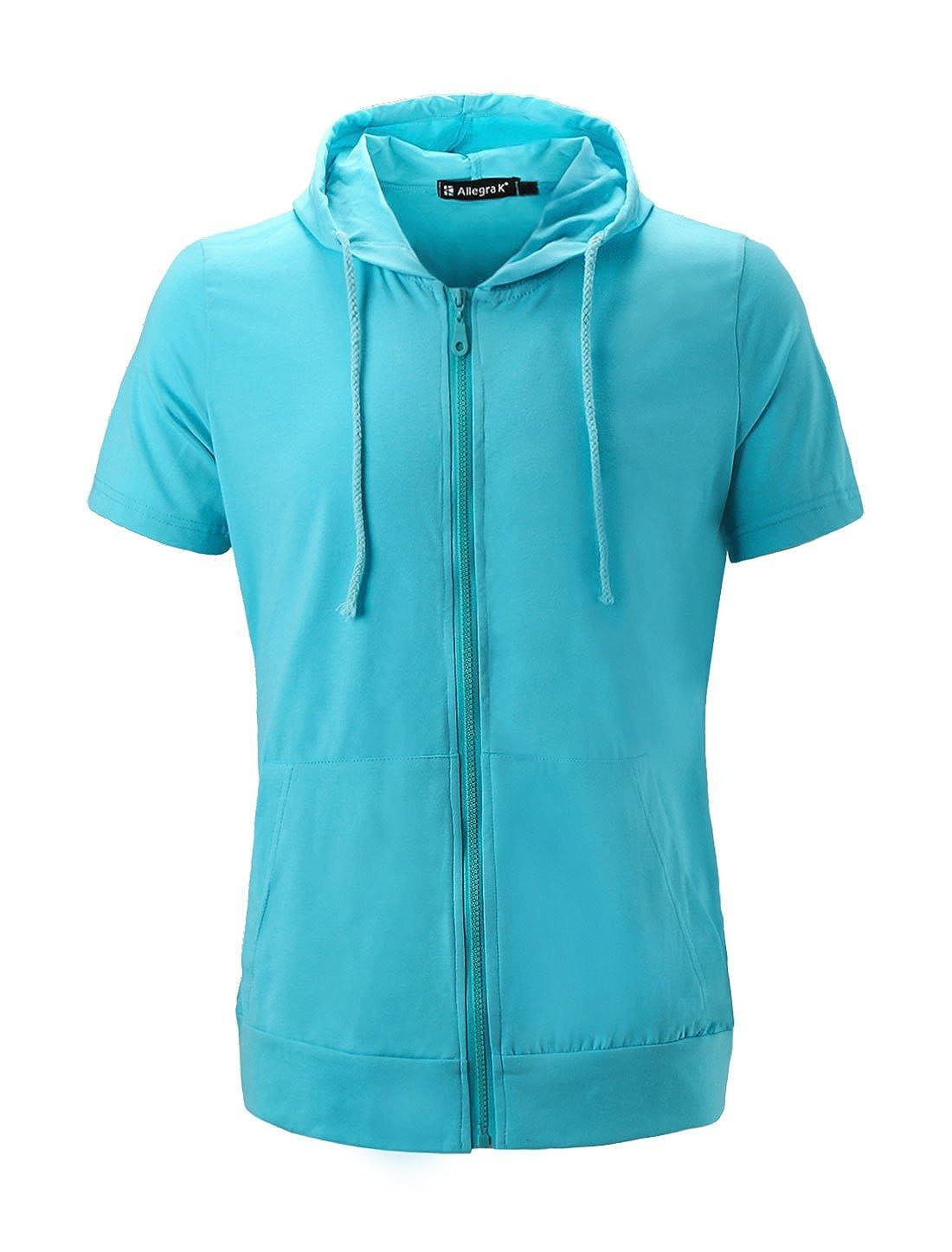 uxcell Men Kangaroo Pocket Drawcord Short Sleeves Slim Fit Hoodie Sweatshirts