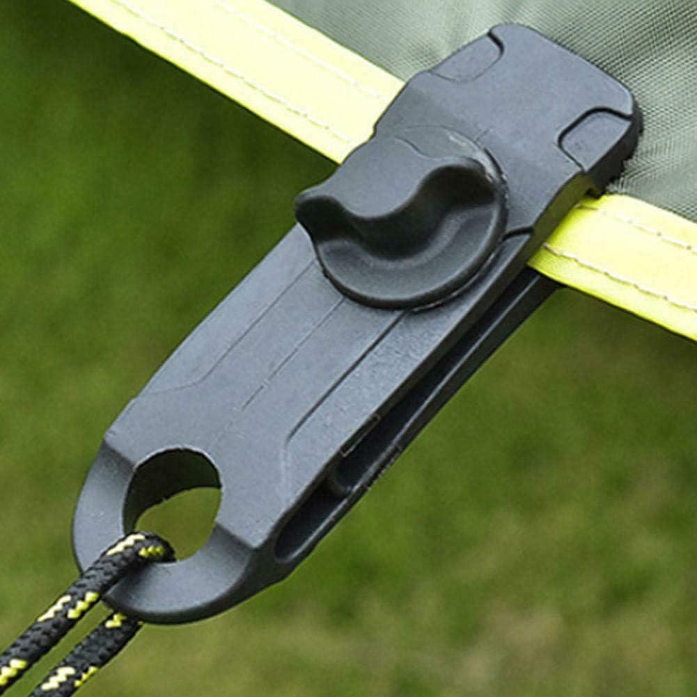 tela de jard/ín lonas para tienda de campa/ña 10 clips para lona de cocodrilo caravanas accesorios para camping color negro Miracle multiusos