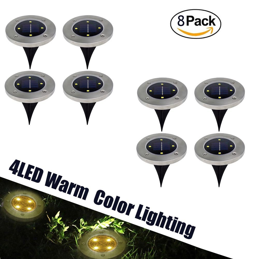 Lawn Solar LED Lights Path Uplight 4LED Waterproof In-Ground Light for Outdoor Gardern Bed Pathway, Walkway, Back Yard Grassland, Deck, Patio, Area Landscape Warm Lighting Solar Powered Lamps 8 PACK