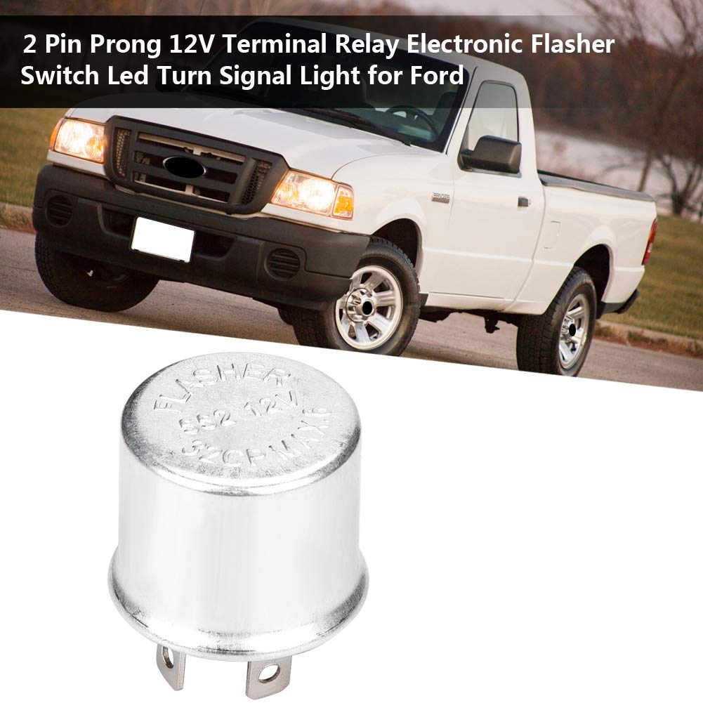 Electronic Flasher,2 Pin Prong 12V Terminal Relay Electronic Flasher Switch Led Turn Signal Light