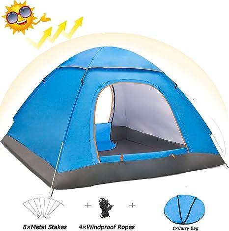 Eyeco Tienda de Campaña, Tienda de Campaña Doble Capa para 3-4 Personas,Camping Pop-Up Instantánea y Portátil Tent,Ventanas Mosquitera Protección Solar UV: Amazon.es: Deportes y aire libre